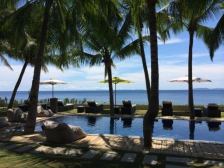 View of the ocean from pool of La Chevrerie Resort in Anilao Batangas